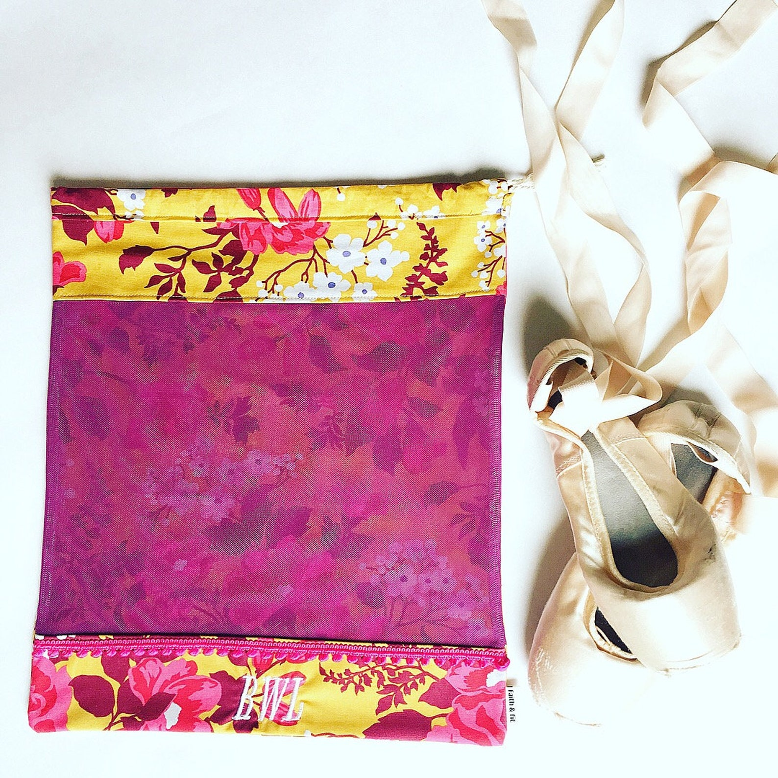 pointe shoe bag, ballet shoe bag, dance bag purple, yellow, ballerina bag