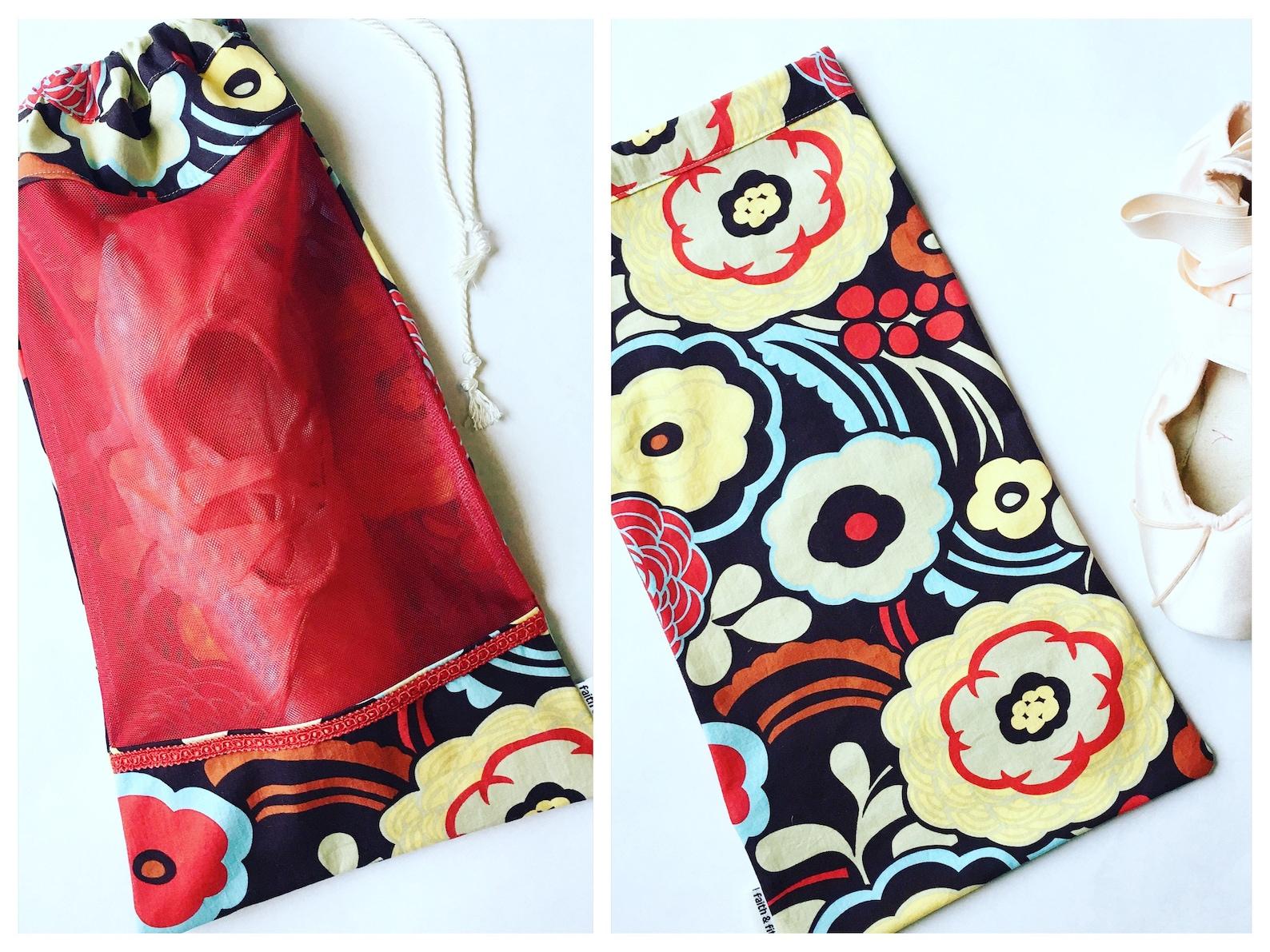 pointe shoe bag, ballet shoe bag, dance bag, red, floral, ballerina bag