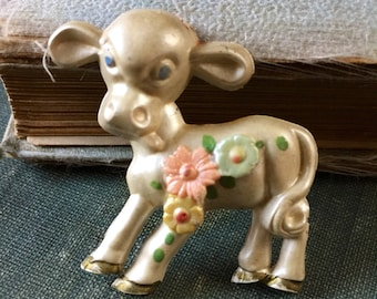 1950s Early Plastic Kitsch Cream Blue Eyed Cow Calf Pin Novelty Costume Jewelry Figural