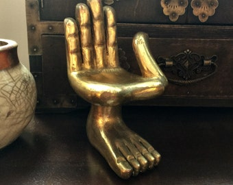 Pedro Friedeberg Small Hand Foot Gold Leaf Madera de Caoba Collectable Sculpture