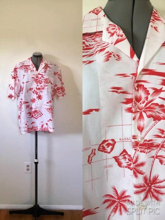 Hawaiian Map Print Men's Shirt - L