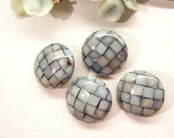 "Set of 4, Modern Buttons, Mosaic Shell Onlay, 7/8"", ANIMAL CHARITY Donation"