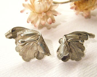 "Vintage Earrings, Sterling Silver, Scew Back, Art Nouveau FLOWERS, 1 1/8"", ANIMAL CHARITY Donation"