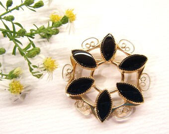 Vintage Brooch, Signed Catamore, 1/20 12k gf and Onyx ANIMAL CHARITY DONATION