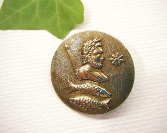 Antique Button, Zodiak Button, Pisces, Metal, Victorian,  Animal CHARITY DONATION