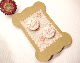 """Vintage Fabric Covered Pale Pink FLOWER Buttons, 7/8"""", ANIMAL CHARITY Donation"""