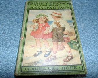 Bunny Brown and his Sister Sue on Grandpa's Farm Laura Lee Hope Children's Book Story Series Vintage Book 1916 1st edition Beach boy girl