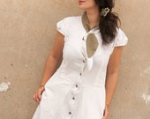 Button Up , White Linen Dress, Dress with pockets