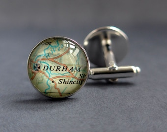 Personalised Silver Cuff Links, Map Cufflinks, Mens Anniversary Unique Jewelry