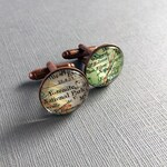 Cartography, Men's Cufflinks, Copper Anniversary Personalized Cuff Links