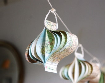 Paper garland, Recycled Maps, Travel Themed Wedding Decorations