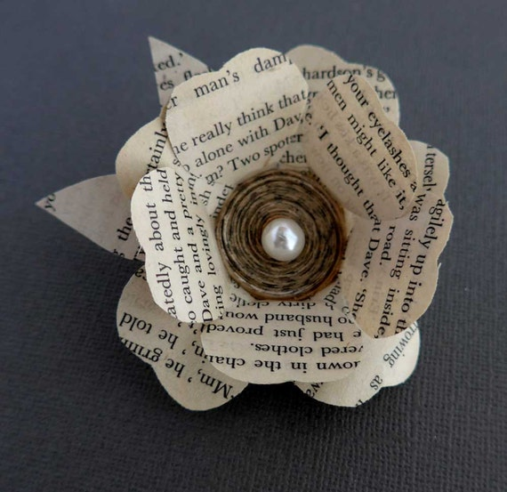 Flower brooch paper flower brooch book lover gift recycled etsy image 0 mightylinksfo