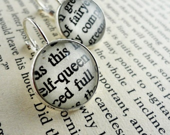 Chaucer Literary Earrings, Silver Book Earrings, Clever Woman Gift