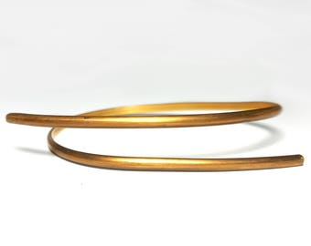 Simple Modern Brass Bar Wrap bracelet - unisex cuff bangle