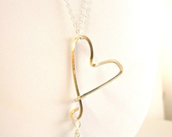 Blue & Sterling Heart Drop Necklace with blue freshwater pearl