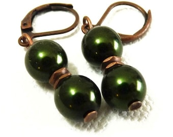 Tiny Simple Deep Hunter Green and Copper Pearl Earrings