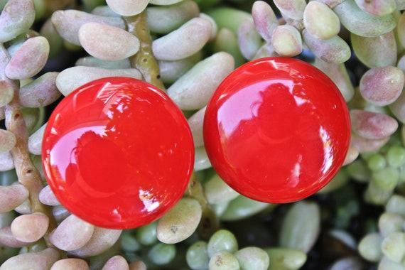 Vintage Glossy Tomato Red Japan Made Clip On Earri