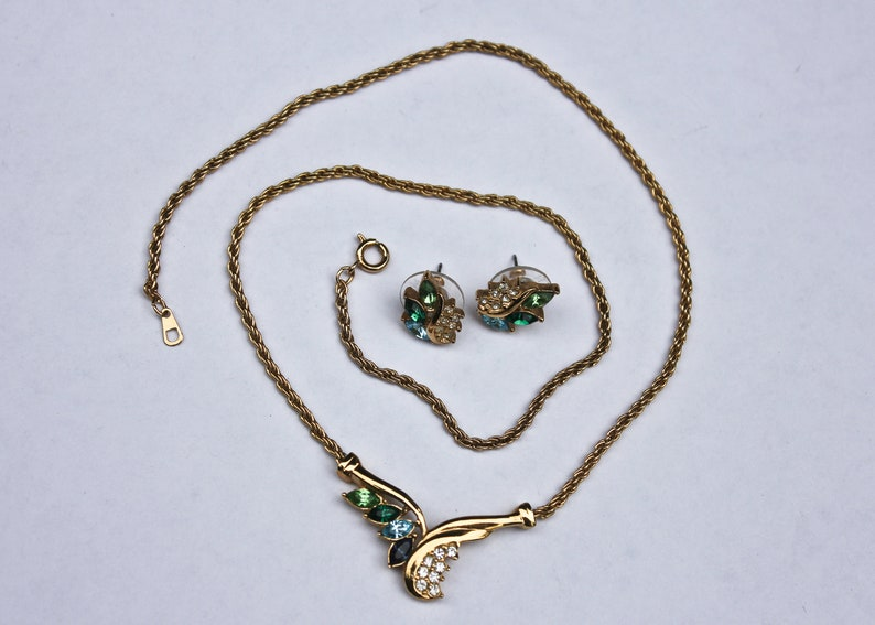 Blue Green and Clear Crystal Jewelry Set Vintage Genuine Crystal Jewelry Set by Roman IOB Vintage Necklace and Earrings