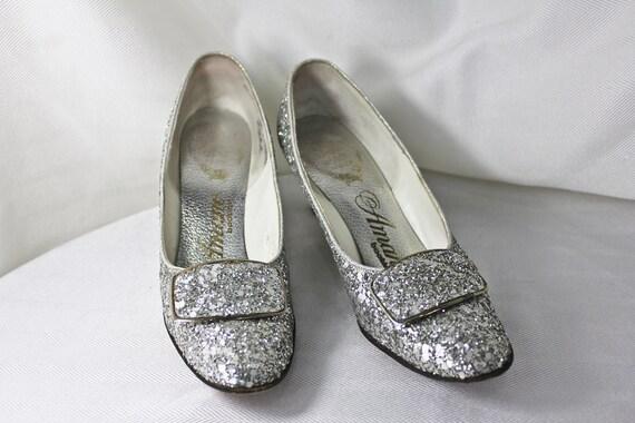Sparkly Silver Vintage Amano Heels, c1960s, Silver