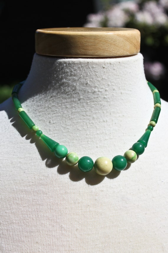 Vintage Jade Green and Mottled Yellow and Green Ba