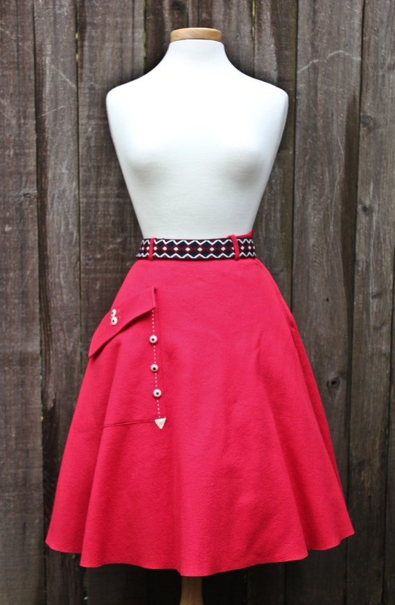 Bright Candy Apple Red Vintage Felt Circle Skirt,