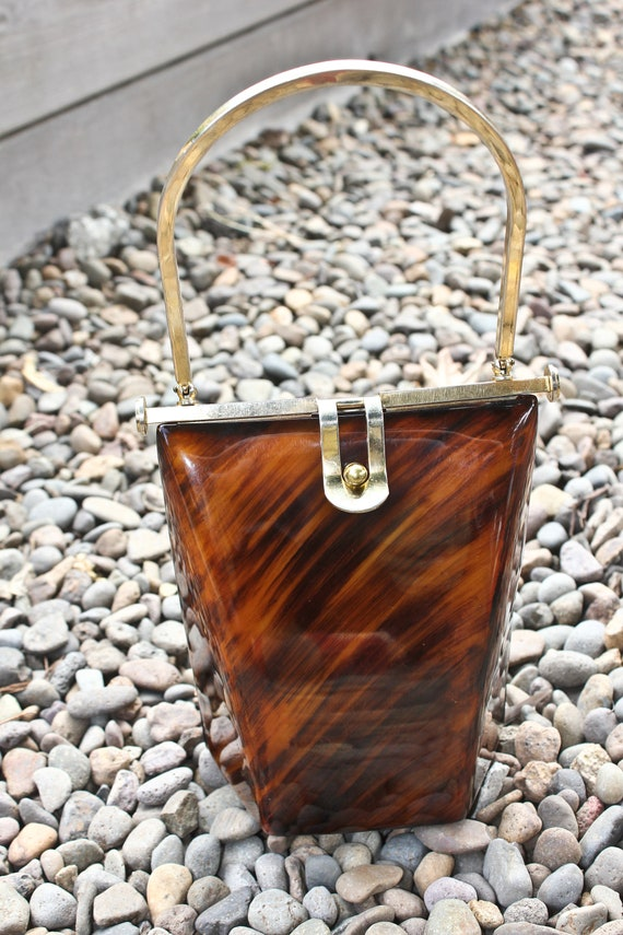 Vintage Lucite and Brass Tall Tortoise Shell Style