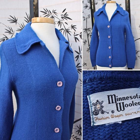 Bright Blue Minnesota Woolen Cardigan Sweater, Cir