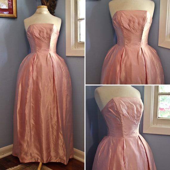 Pink Satin Sleeveless Sixties Era Formal Gown, Cir