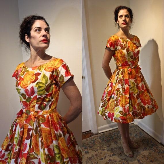 Vintage Silk Autumnal Colored Suzy Perette Dress,