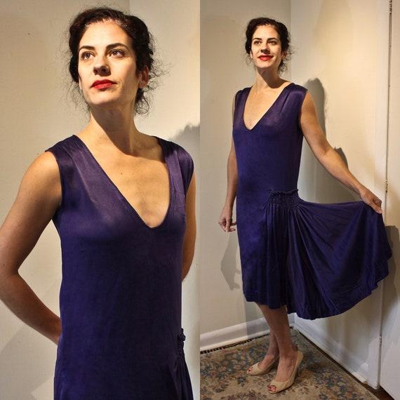 Midnight Blue Twenties Era Flapper Dress, c1920s,