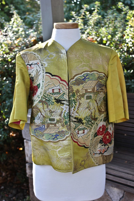 Vintage Silk Chinese Short Sleeved Jacket, c1940s,