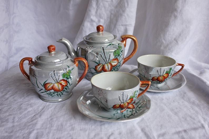 Vintage Hand Painted Six Piece Trico Tea Set, c1940s - 50s, Japanese  Porcelain Tea Set, Orange Blossom Lusterware Tea Set