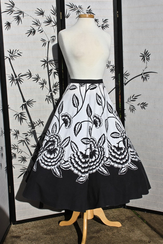 Fifties Era Black and White Floral Circle Skirt, C