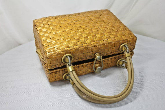 Vintage Yellow Wicker Basket Purse by Saks Fifth A