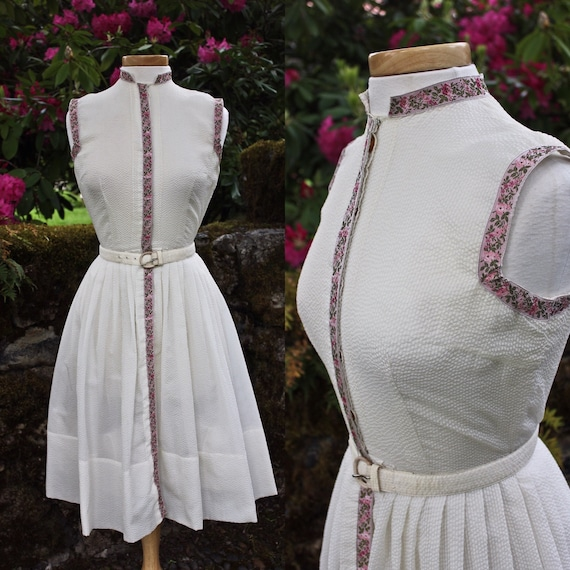 Off White Belted Diaphanous Seersucker Dress With