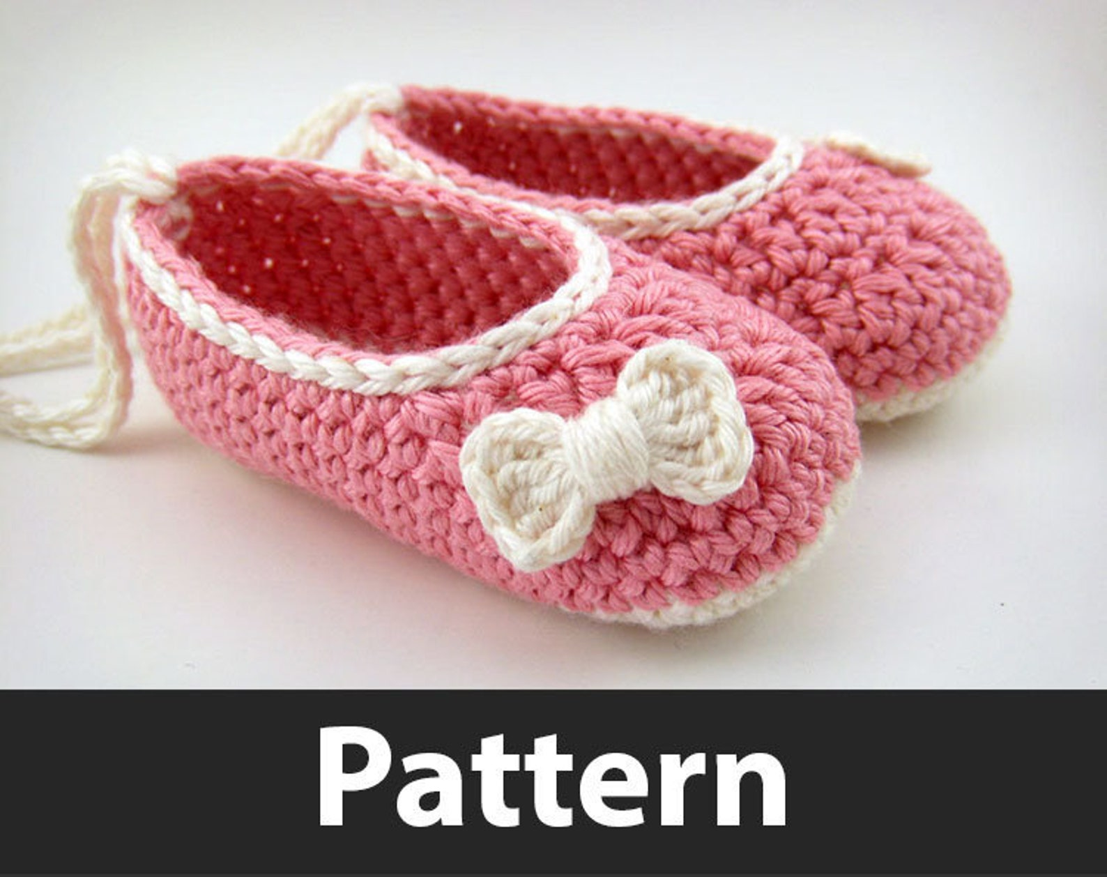 crochet pattern - baby ballet flats and mini crochet bows