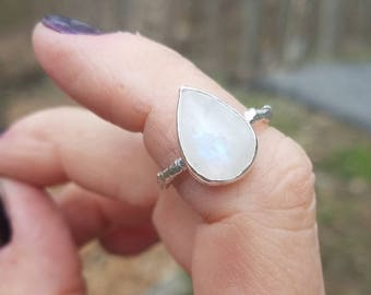 Rainbow Moonstone Ring ~ CUSTOM SIZED ~ Sterling Twig Band Natural Minimalist Bohemian Look