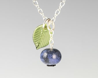 Glass Blueberry Necklace on sterling silver or gold-filled, hand blown glass art, nature inspired jewelry by GlassBerries