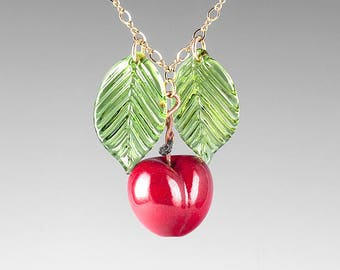 Glass Cherry Necklace, Large Size on sterling silver or gold-filled, hand blown glass art, nature inspired jewelry by GlassBerries