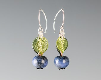 Glass Blueberry Earrings lampwork bead jewelry hand blown glass art birthday gift or Mother's Day gift for gardener, cook, chef
