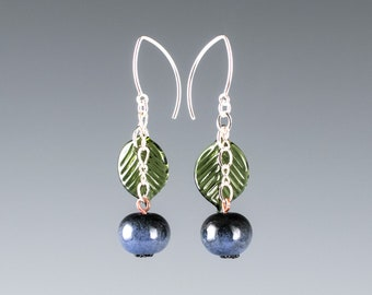 Glass Blueberry Earrings on sterling  silver or gold-filled, hand blown glass art, nature inspired jewelry by GlassBerries