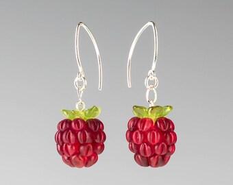 Glass Raspberry Earrings Lampwork bead fruit jewelry hand blown glass art birthday gift, Mother's Day gift for gardener, cook, chef