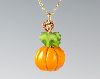 GLASS PUMPKIN NECKLACE in sterling silver or gold-fill, hand blown glass pumkpin, autumn jewelry