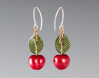 Glass Cherry Earrings on sterling  silver or gold-filled, hand blown glass art, nature inspired jewelry by GlassBerries