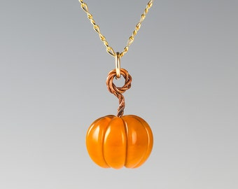 Glass Pumpkin Necklace on sterling silver or gold-filled, fall festive / autumn jewelry by GlassBerries