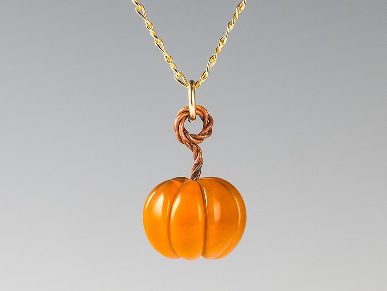 birthday gift Autumn Fall Thanksgiving Halloween Glass Pumpkin Necklace hand blown glass Lampwork Bead jewelry lampwork berries