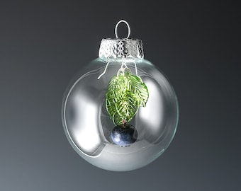 Glass Blueberry Christmas Ornament, silver or gold, hand blown glass art gift holiday decor, housewarming gift,  GlassBerries