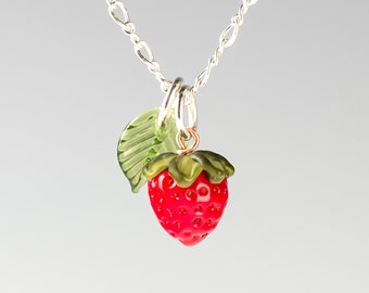 Tiny Glass Strawberry Charm Necklace w leaf on sterling silver or gold-filled, hand blown glass art, nature inspired jewelry by GlassBerries