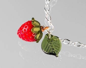Glass Strawberry Charm Bracelet in sterling silver or gold-filled, hand blown glass art, nature inspired jewelry by GlassBerries