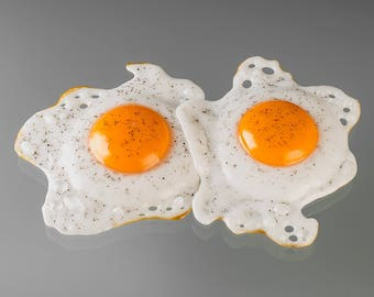 Fried Egg Glass Sculpture, Sunny Side Up Pair w black pepper, life-sized hand blown glass art birthday Mother's Day gift for cook, chef